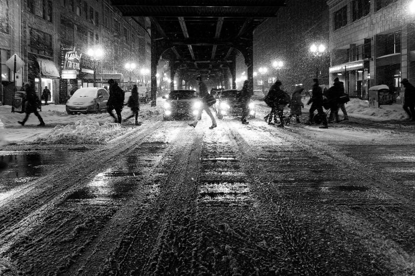 Snowy city night